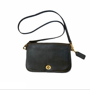 Coach vintage grey crossbody with gold hardware